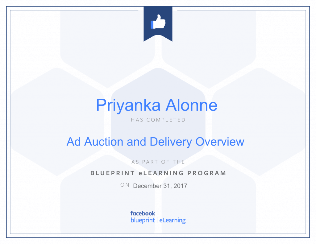 Facebook Blueprint Certification -Ad Auction and Delivery Overview by Priyanka Alone at ThinkCode.
