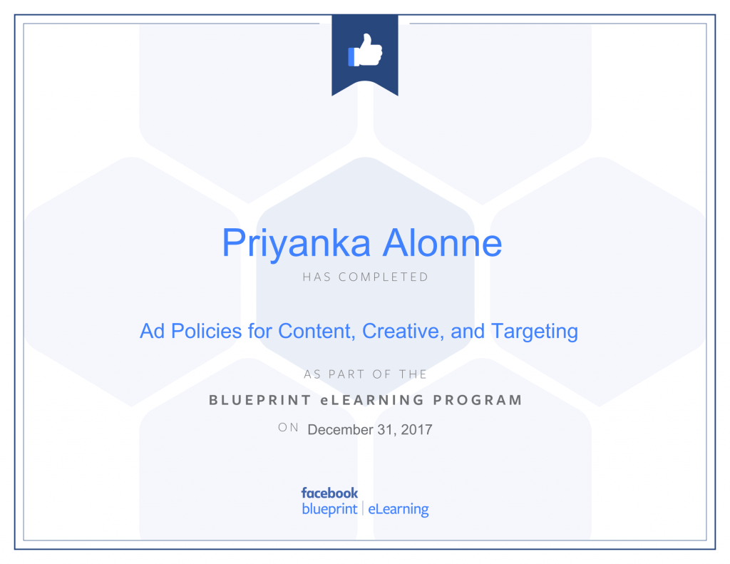 Facebook Blueprint Certification -Ad Policies for Content, Creative, and Targeting by Priyanka Alone by Priyanka Alone at ThinkCode.