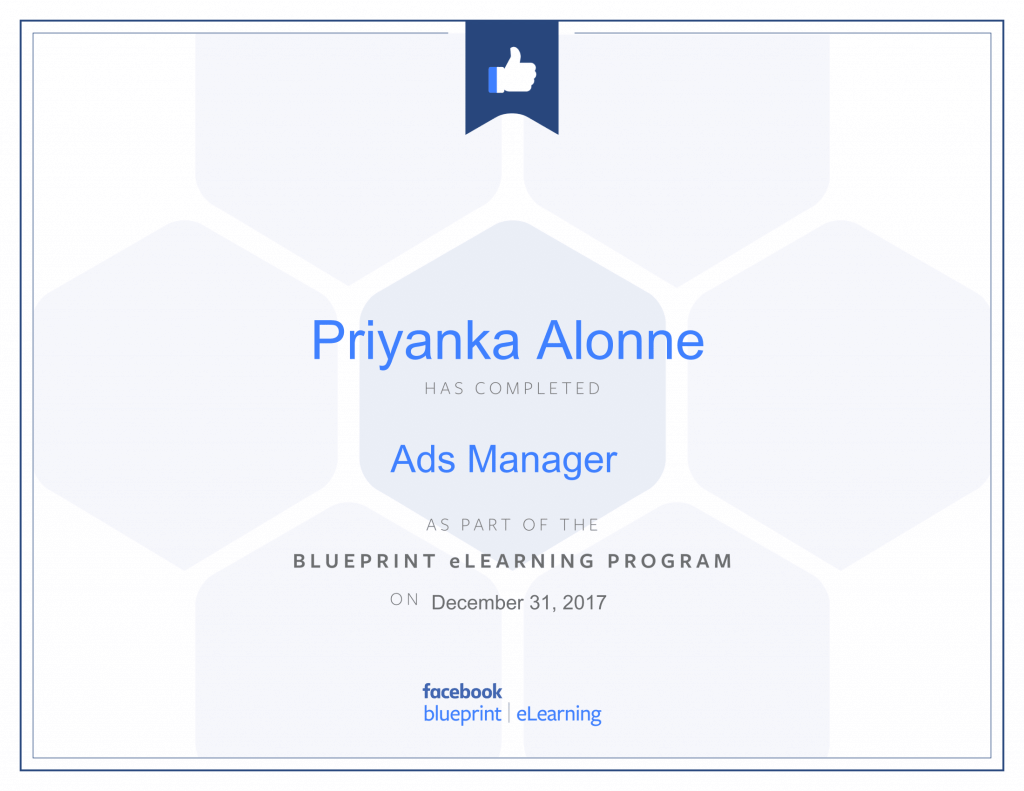 Facebook Blueprint Certification -Ads Manager by Priyanka Alone by Priyanka Alone at ThinkCode.