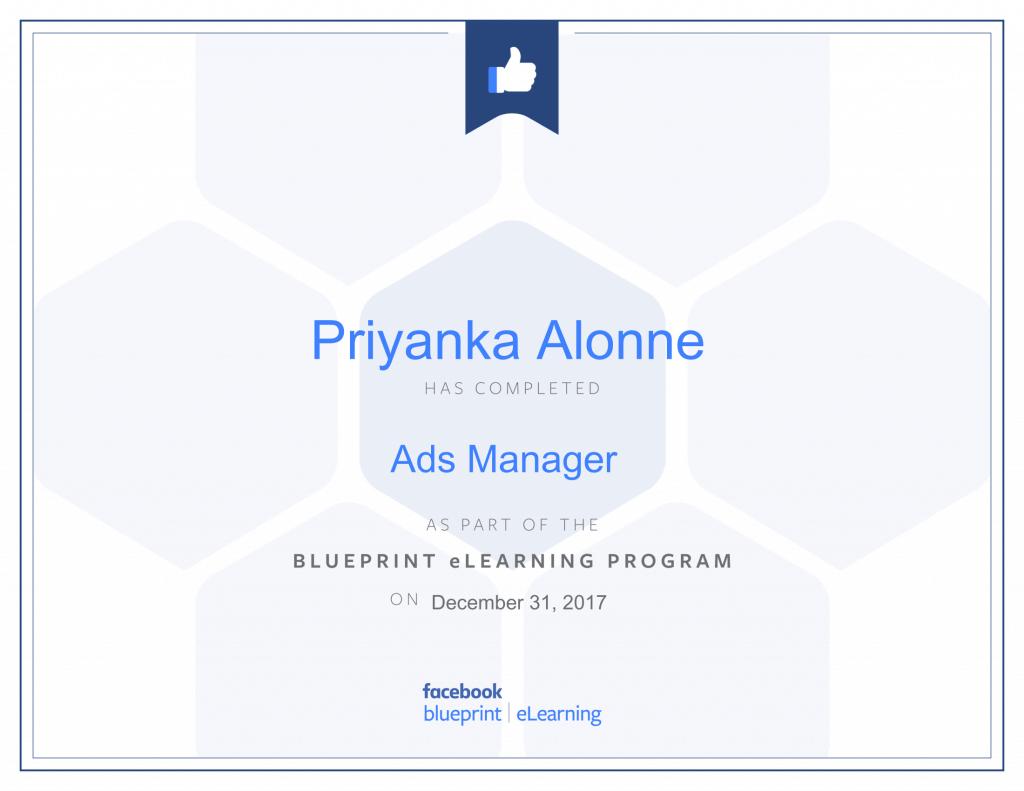 Facebook Blueprint Certification-Ads Manager by Priyanka Alone by Priyanka Alone at ThinkCode.