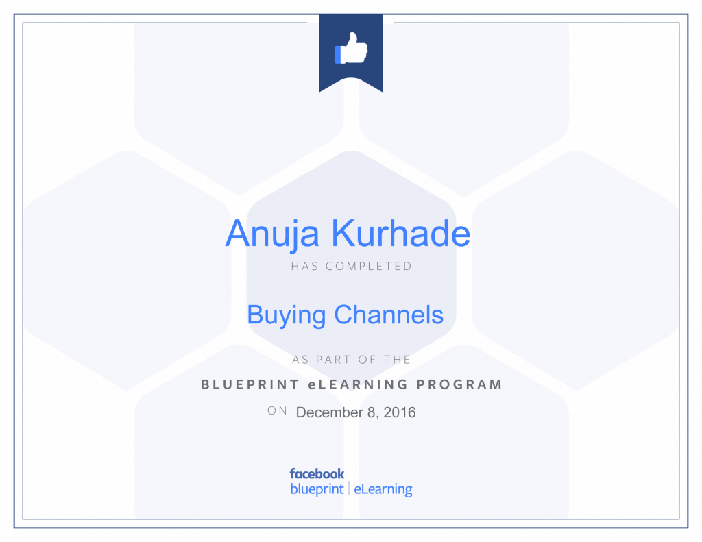 Facebook Blueprint Certifications- Anuja Kurhade thinkcode