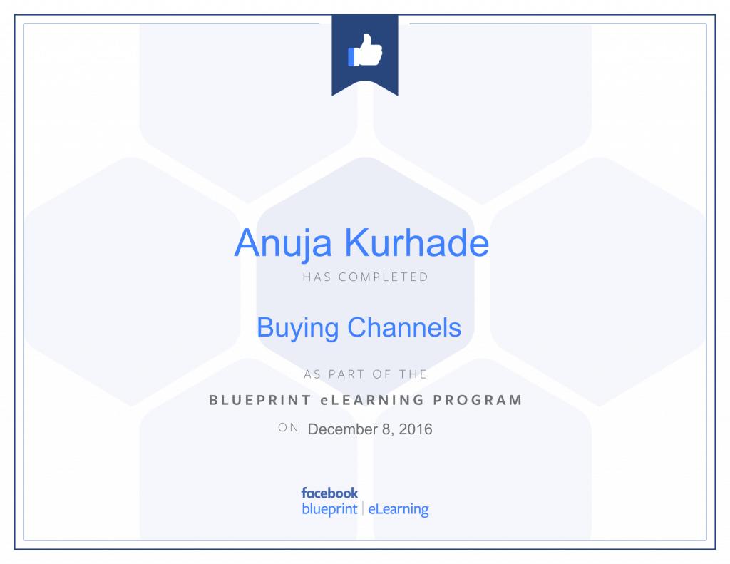 Facebook Blueprint Certifications- Anuja Kurhade thinkcode