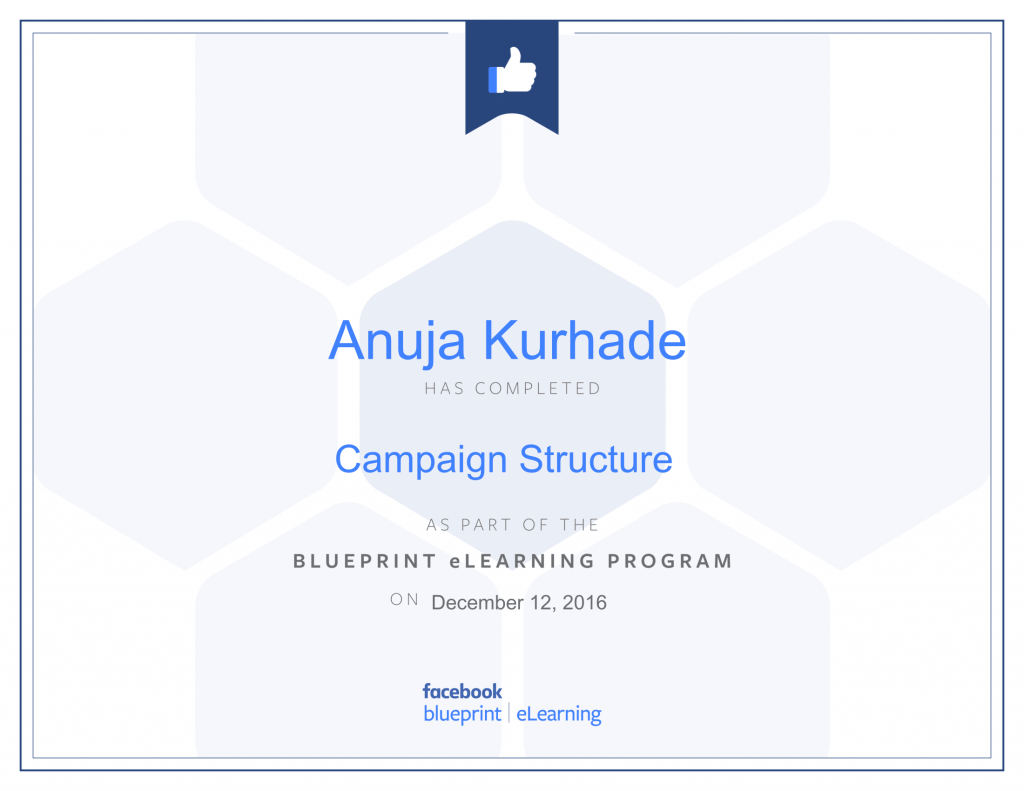 Facebook Blueprint Certificates- Anuja Kurhade thinkcode