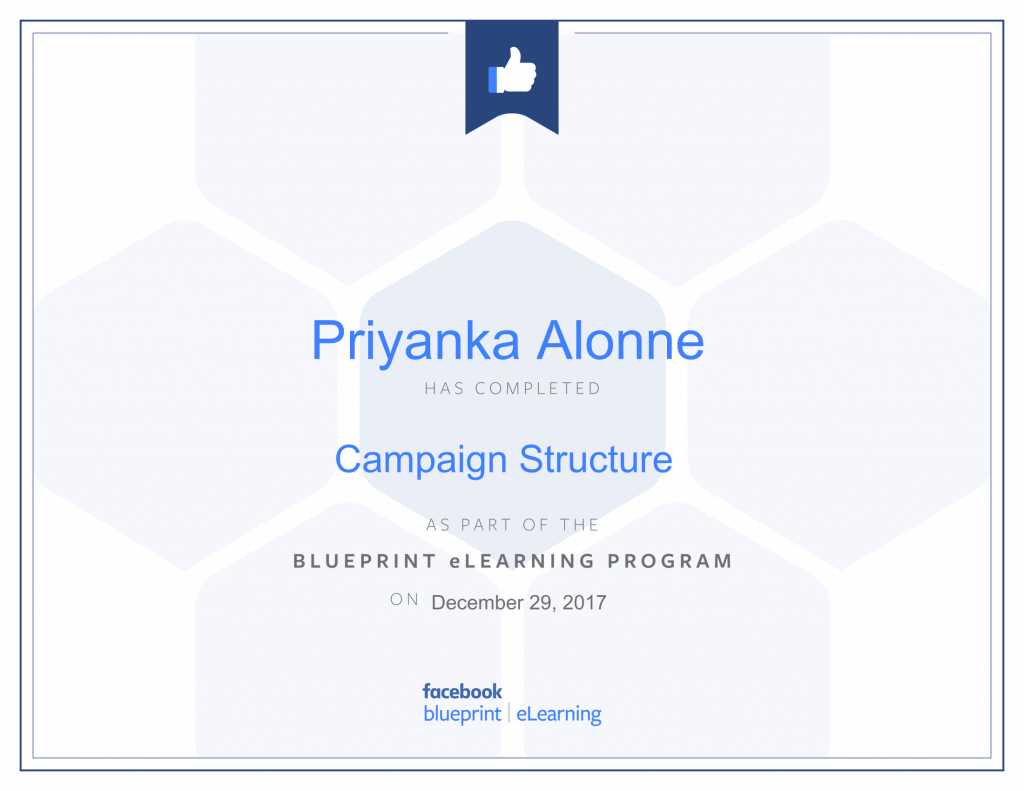 Facebook Blueprint Certification-Campaign Structure by Priyanka Alone at ThinkCode.