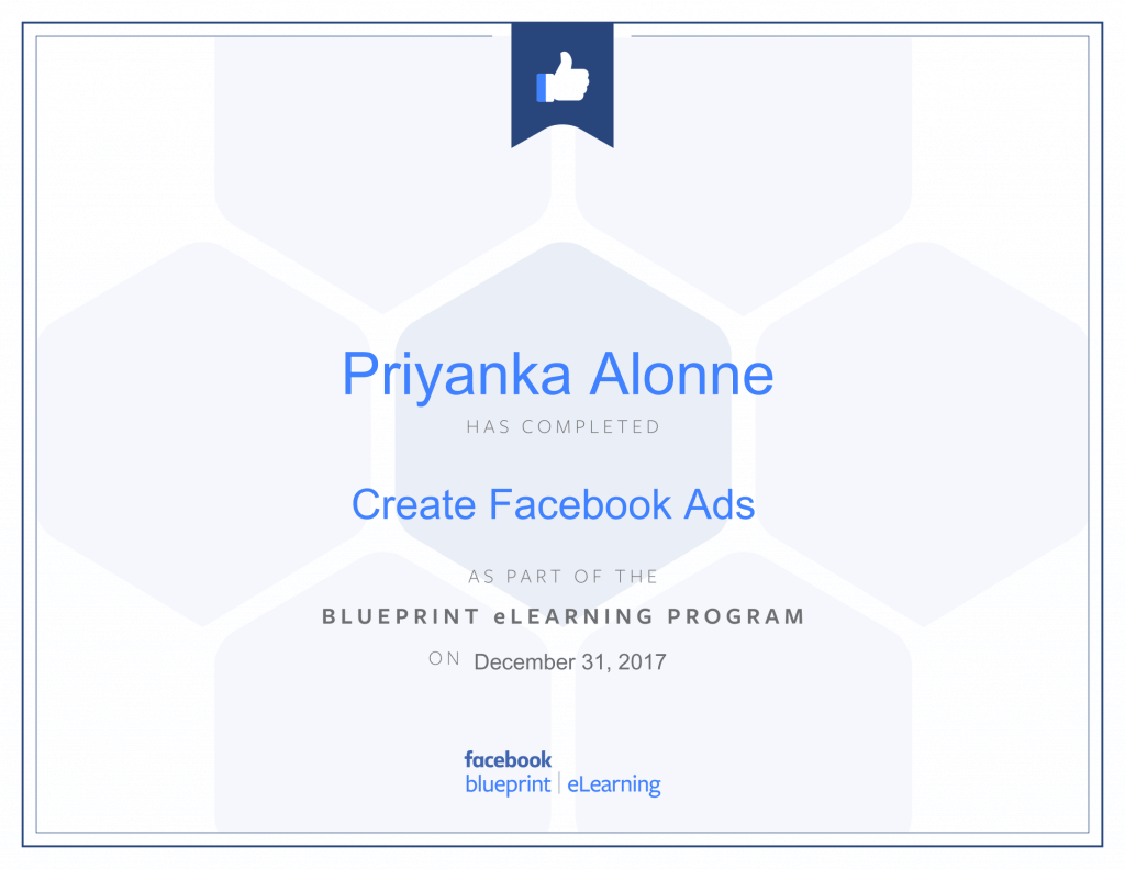 Facebook Blueprint Certification -Create Facebook Ads by Priyanka Alone at ThinkCode.