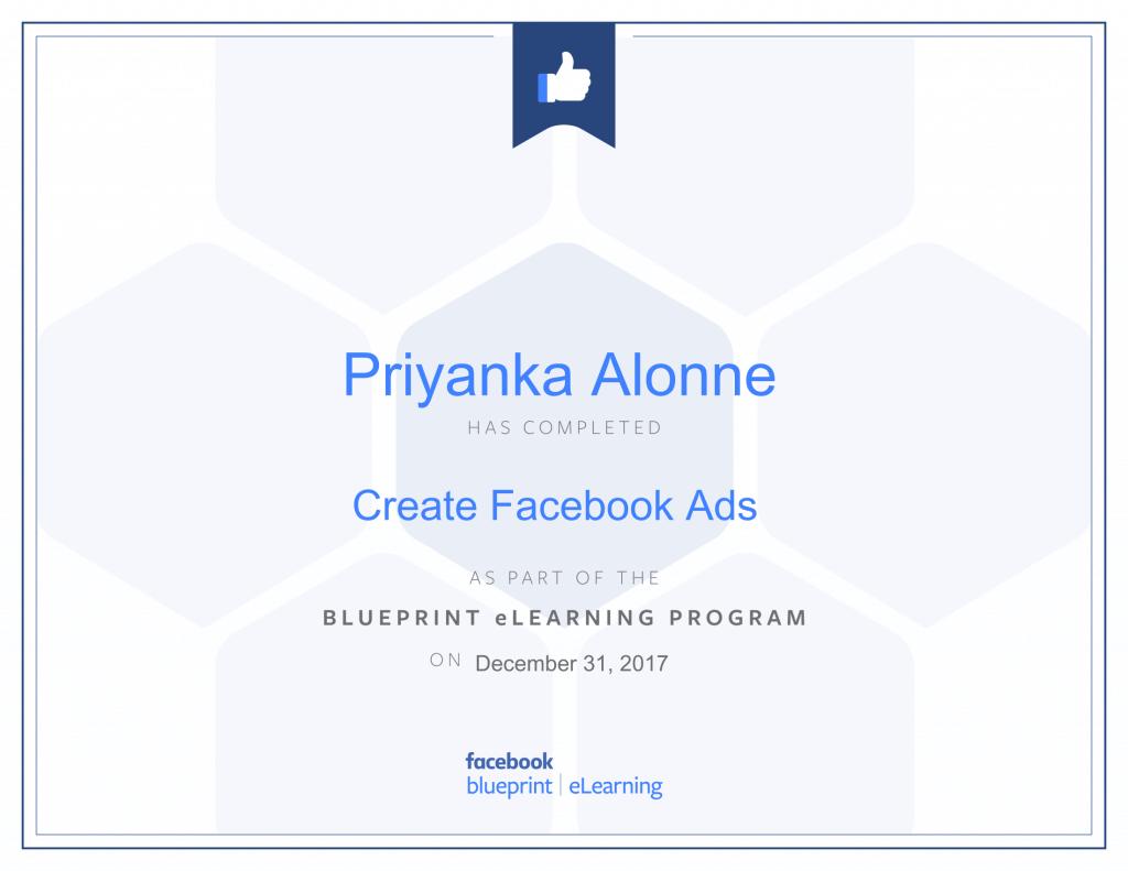 Facebook Blueprint Certification-Create Facebook Ads by Priyanka Alone at ThinkCode.