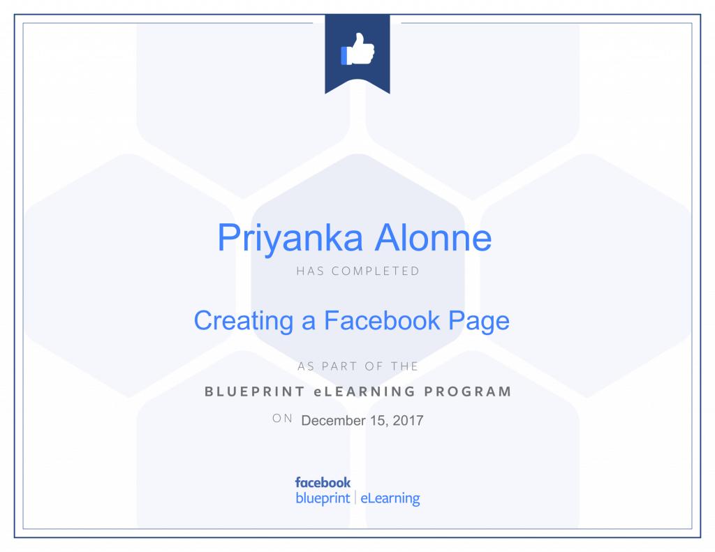 Facebook Blueprint Certification-Creating a Facebook Page by Priyanka Alone at ThinkCode.