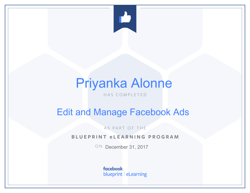 Facebook Blueprint Certification-Edit and Manage Facebook Ads by Priyanka Alone at ThinkCode.