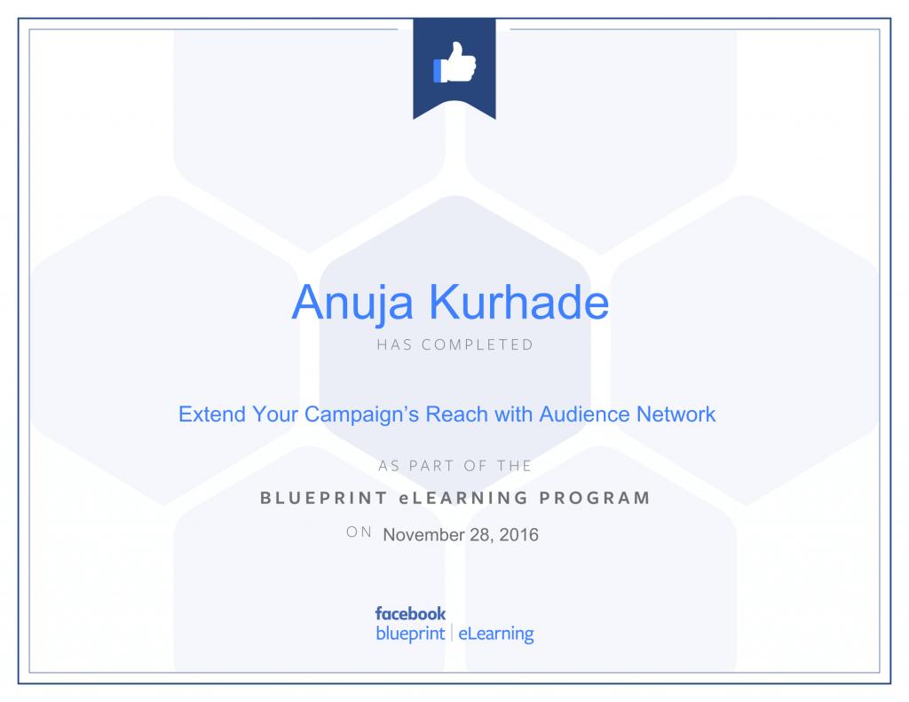 Certified Facebook Advertiser -Anuja Kurhade thinkcode