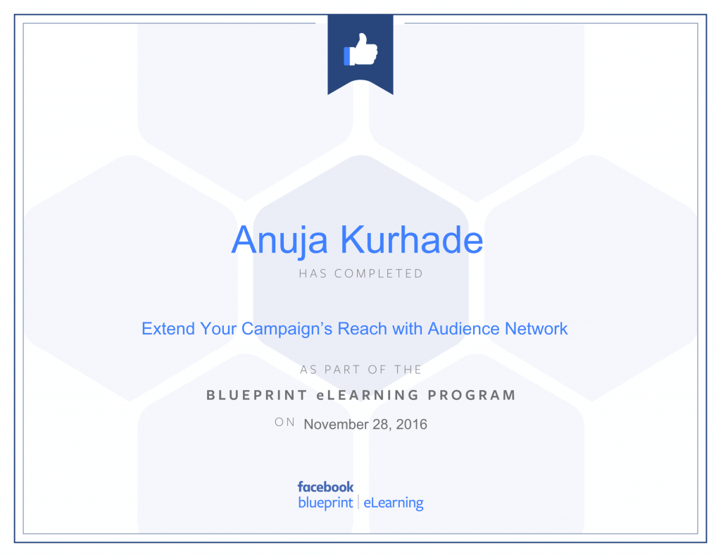 Certified Facebook Advertiser -Anuja Kurhade thinkcode