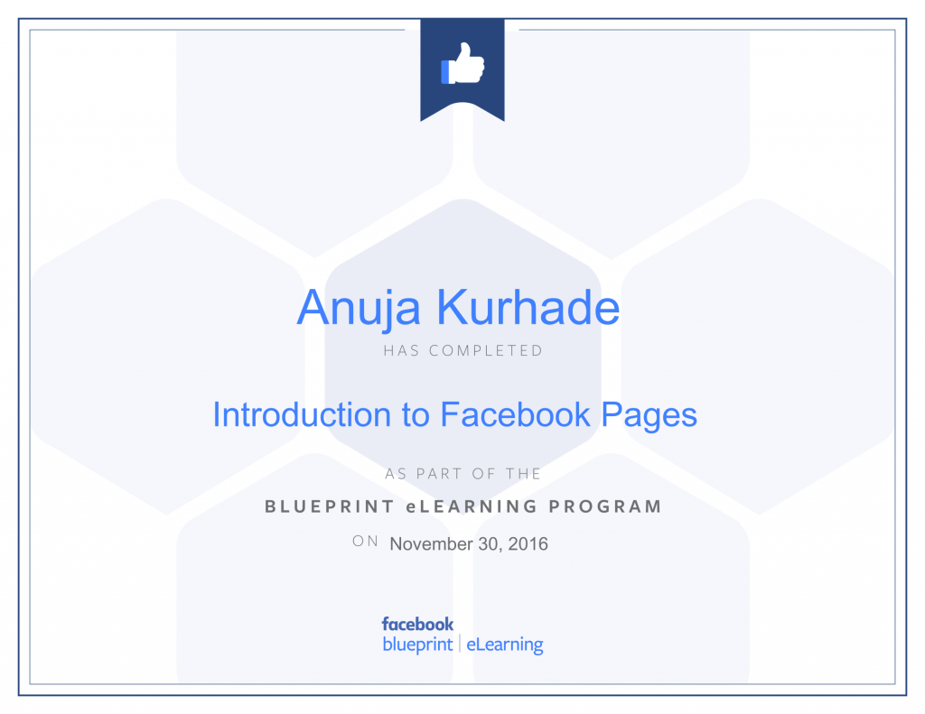 Facebook Blueprint Certifications- thinkcode anuja kurhade