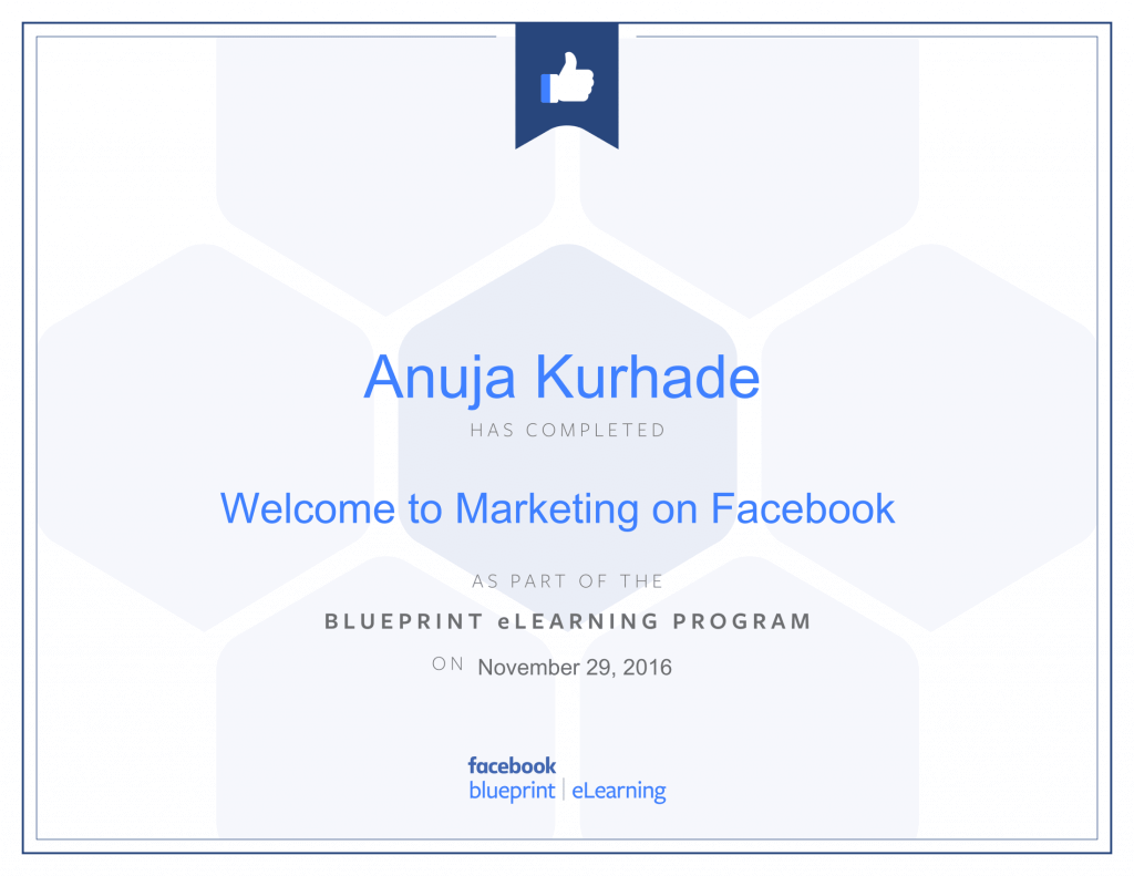 Facebook Blueprint Certifications- thinkcode anuja kurhade