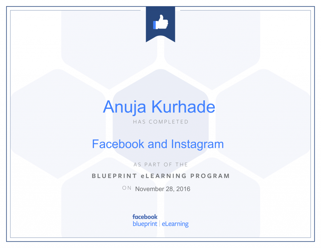 Facebook Certified Advertiser-Anuja Kurhade -thinkcode