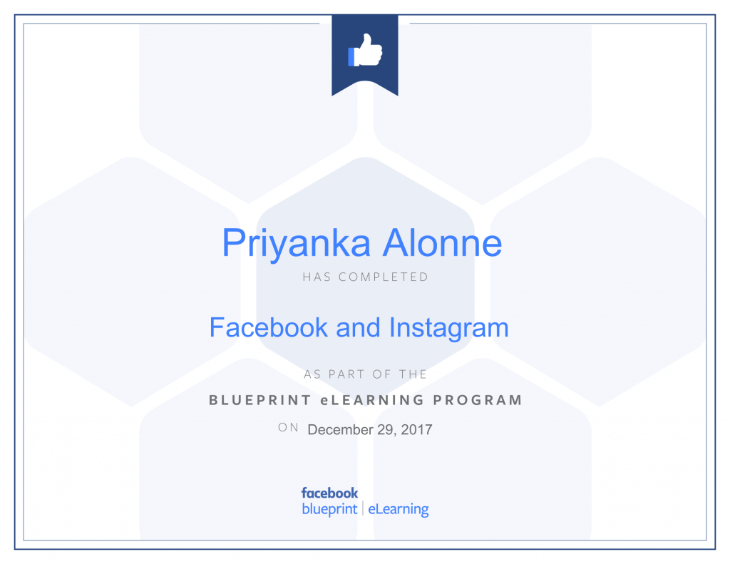 Facebook Blueprint Certification -Facebook and Instagram by Priyanka Alone at ThinkCode.
