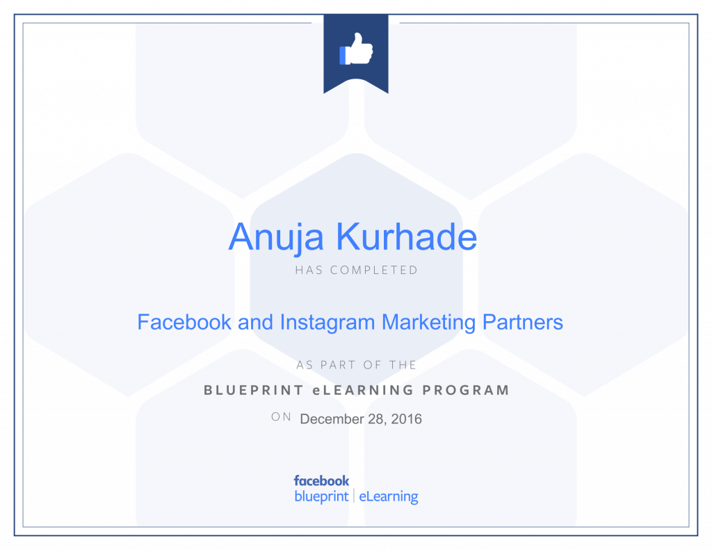 Facebook Blueprint Certificates- Anuja Kurhade thinkcode