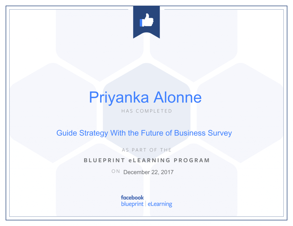 Facebook Blueprint Certification-Guide Strategy With the Future of Business Survey by Priyanka Alone at ThinkCode.