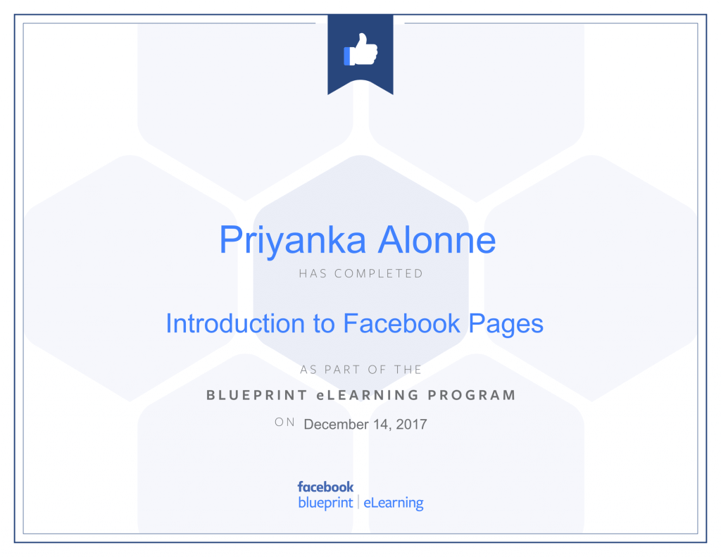 Facebook Blueprint Certification-Introduction to Facebook Pages by Priyanka Alone at ThinkCode.