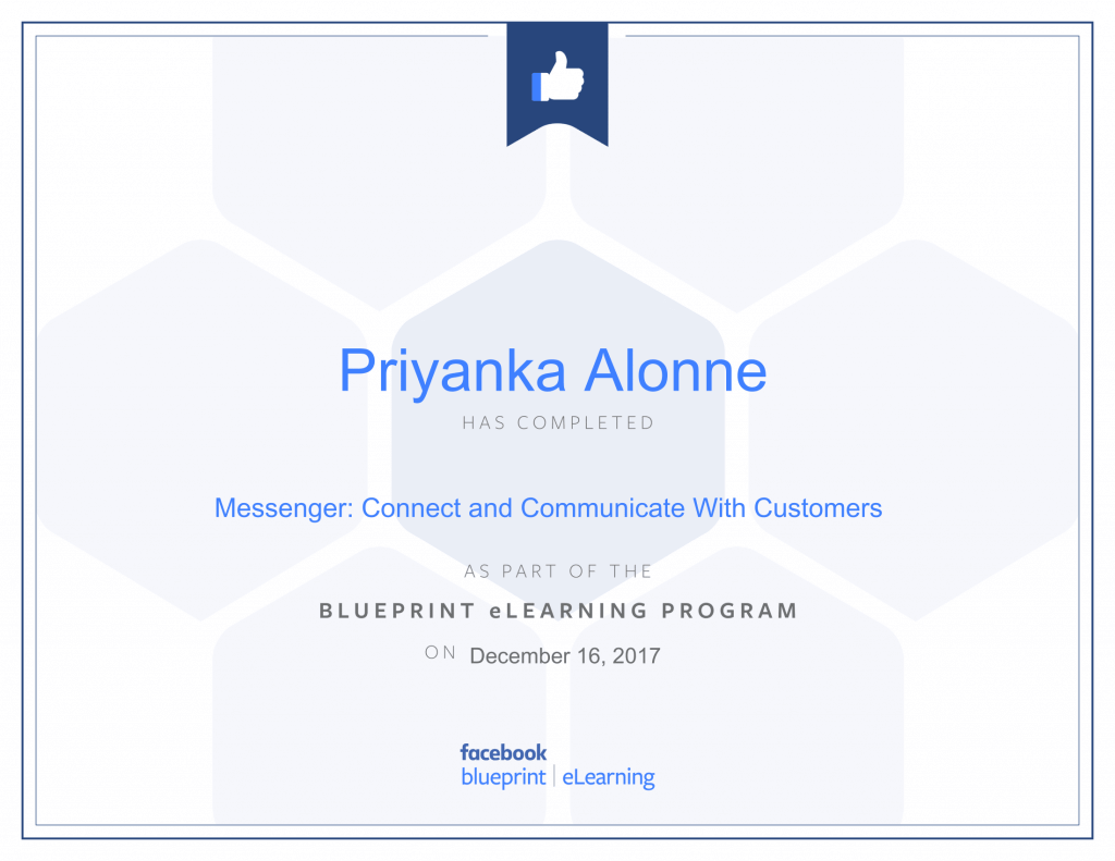 Facebook Blueprint Certification-Messenger Connect and Communicate With Customers by Priyanka Alone at ThinkCode.