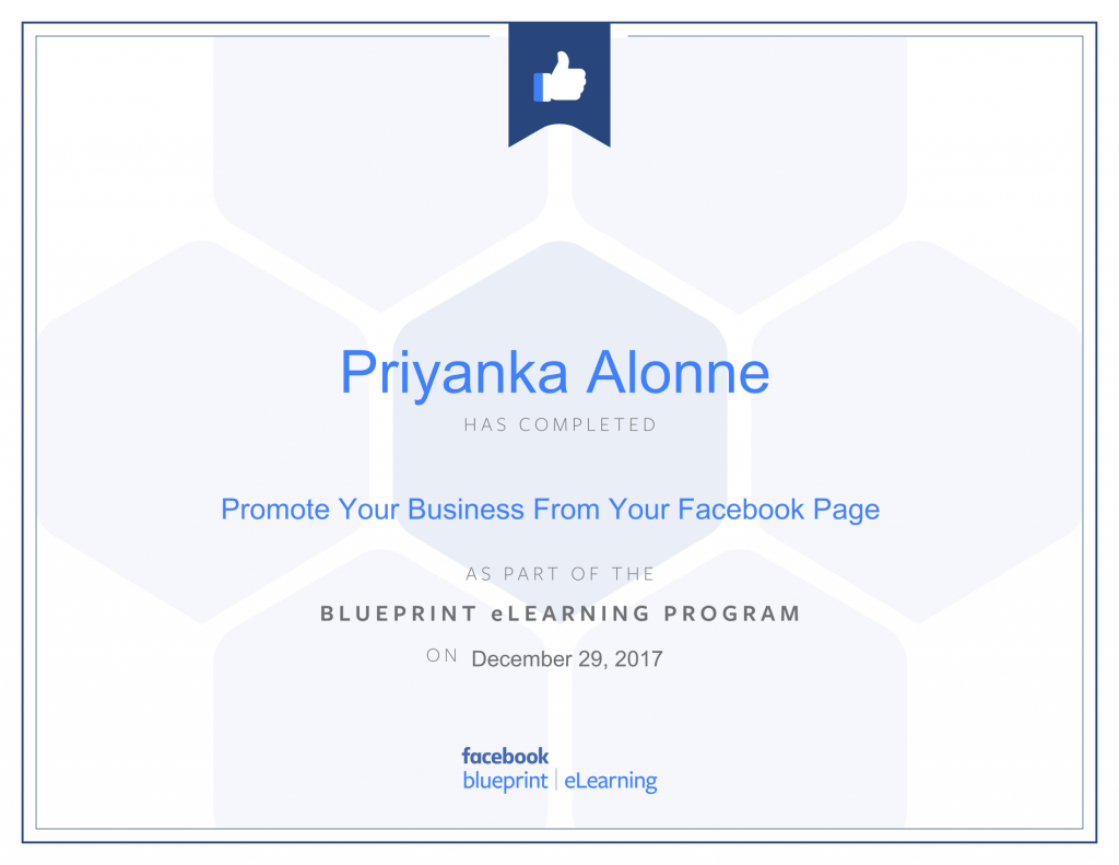 Facebook Blueprint Certification-Promote Your Business From Your Facebook Page by Priyanka Alone at ThinkCode.