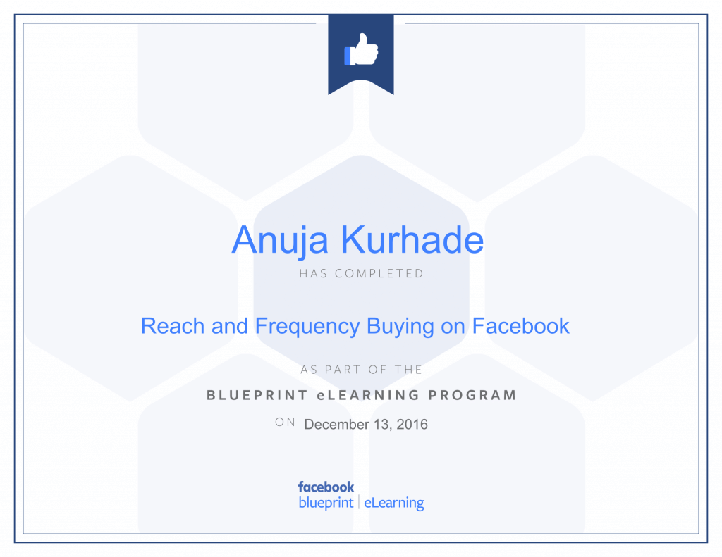 Facebook Certified Advertiser-Anuja Kurhade thinkcode