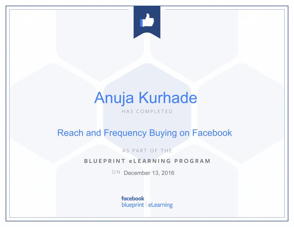 Facebook Certified Advertiser-Anuja Kurhade thinkcode