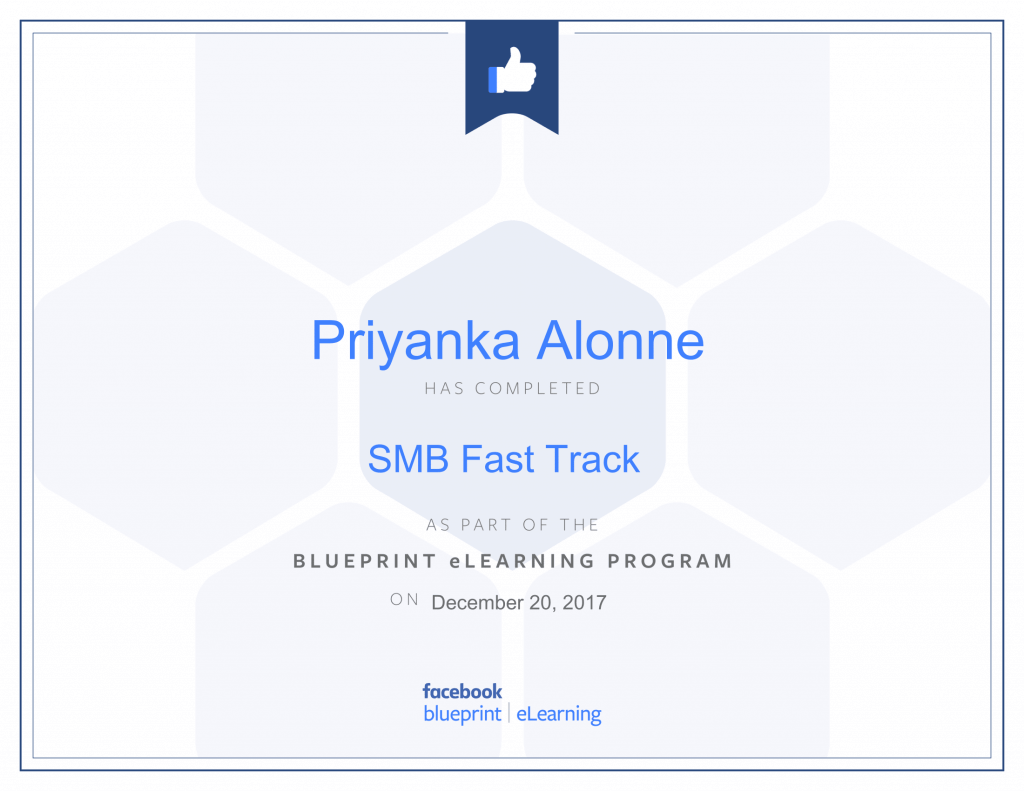 Facebook Blueprint Certification -SMB Fast Track by Priyanka Alone at ThinkCode.