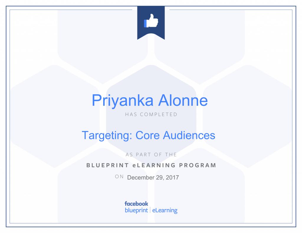 Facebook Blueprint Certification-Targeting Core Audiences by Priyanka Alone at ThinkCode.