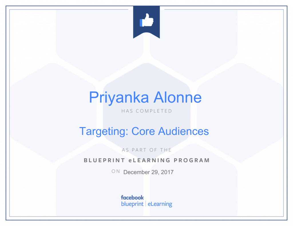 Facebook Blueprint Certification -Targeting Core Audiences by Priyanka Alone at ThinkCode.