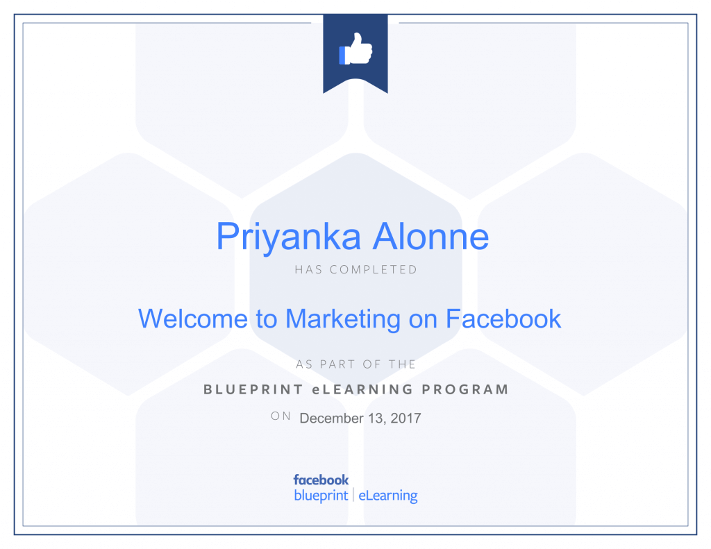 Facebook Blueprint Certification -Welcome to Marketing on Facebook by Priyanka Alone at ThinkCode.